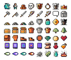 Pixel art, game item, icon and objects for the design. Vector illustration. Fantasy world. Old game console.