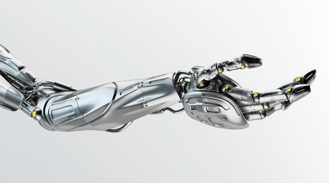Futuristic arm, type of bionic arm with similar functions to a human arm. 3d rendering
