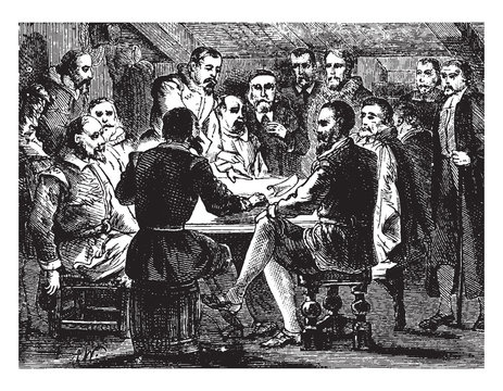 Signing of the Mayflower Contract,vintage illustration.
