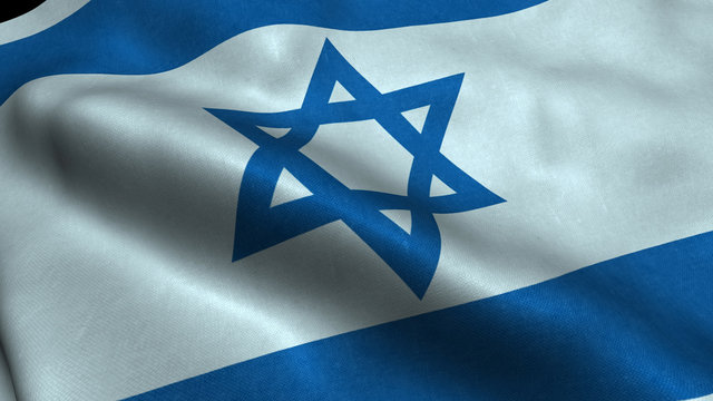 Israel flag with visible wrinkles and realistic fabric.