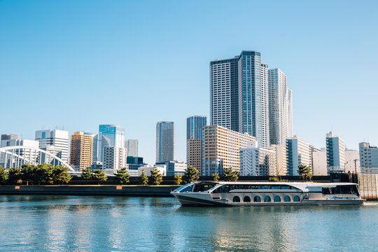 Tokyo cityscape, Sumida river and modern buildings in Japan