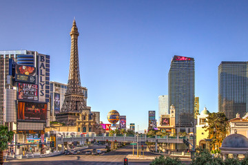Las Vegas, Nevada, USA - May 6, 2019: View of the famous Las Vegas Strip on a sunny summer day