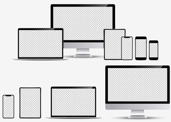 Device screen mockup. Smartphone, tablet, laptop and monoblock monitor, with blank screen for you design. Vector EPS10