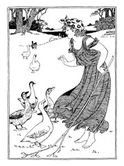 Girl and Geese vintage illustration.