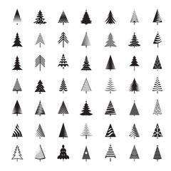 Set of black Christmas Trees. Winter season design elements. Isolated vector xmas Icons.