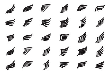 Big Collection of white Wings. Vector Illustration and outline Icons. Wall mural