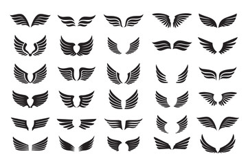 Set of black shape of Wings. Vector Illustration and outline Icons.