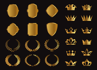 Set of vector Premium Laurel, Shields and Crowns icons on black background. EPS Vector Illustration. Emblem and symbols.Illustration. Emblem and symbols.