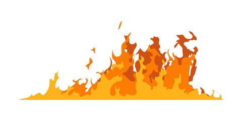Fire walls. Illustration of a burning strip. Flame drawing. Flaming wall. Vector illustration of a fire.