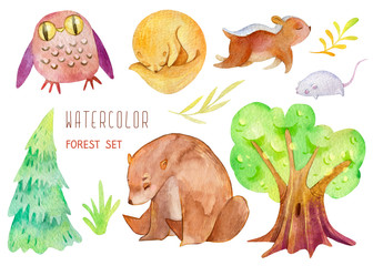 Watercolor set of cute childrens forest characters. Ideal for the nursery. Isolated from white background