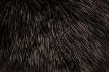 abstract background of warm artificial dark brown fur on a knitted base close up