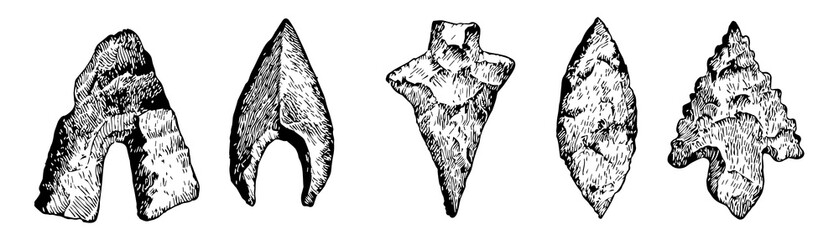 Arrowheads of the Stone Age vintage illustration.