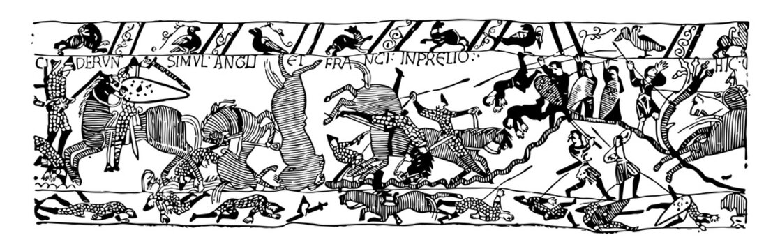 Battle of Hastings vintage illustration.