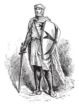 Knight Templar, vintage illustration