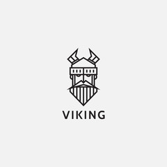 icon logo flat line art of viking