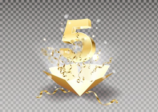 5th year anniversary room and open the gift box with explosions of confetti isolated design element.