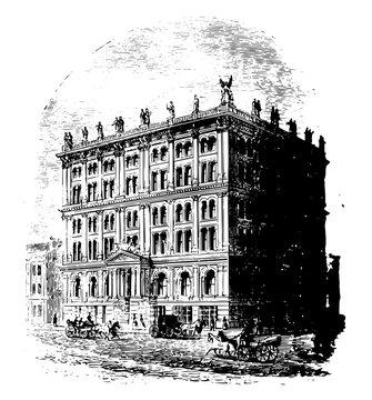 St. Louis Life Insurance Company Building vintage illustration