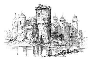 Typical Medieval Castle vintage illustration.