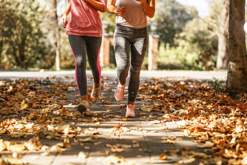 Two female friends jogging at the city park.Autumn season.Only legs are visible.