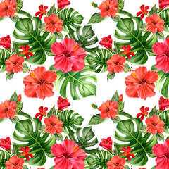 Watercolor seamless pattern with realistic colorful hibiscus and green leaves. Tropical flower Illustration for design wedding invitations, greeting cards, postcards.