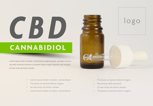Cannabidiol Oil Infographic with Oil Dropper