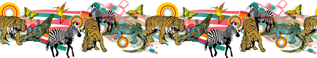 Pattern of crocodile, zebra and tiger. Vector illustration. Suitable for fabric, wrapping paper and the like