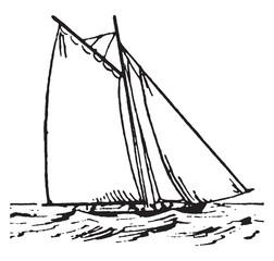 Sailboat, vintage illustration.