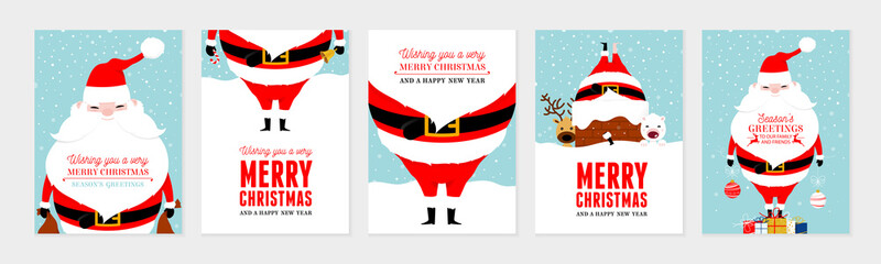 Christmas card set. Merry Christmas and Happy New Year greeting with cute santa claus lettering vector