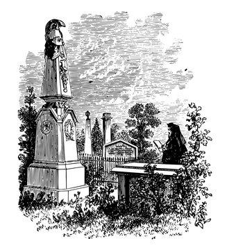 Macomb's Monument vintage illustration