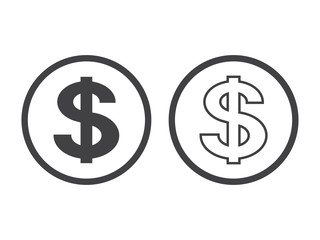 dollar symbol isolated on white background. Vector