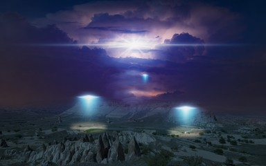 Poster UFO Alien ships inspect planet's surface with bright spotlights, thunderclouds are illuminated by lightning from inside in background.