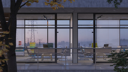 Glass Walled Office Rooms with a Foggy Morning View 3D Rendering