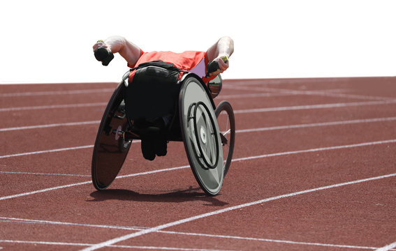 athlete on wheelchair  during the race on white background