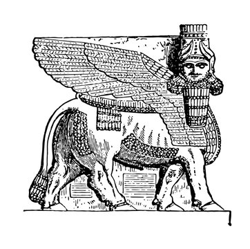 Assyrian God Ninip vintage illustration.