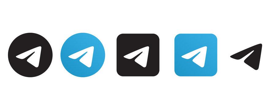 Telegram logo set in different shape on a white background