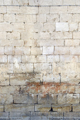 Horizontally Seamless Texture of Light Weathered Ancient Brick Wall from Church Ruins in Lisbon,...