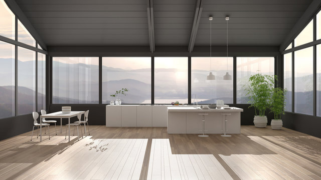 Modern minimalist kitchen with island and dining table with chairs, parquet floor, wooden roof and big panoramic windows with mountain view, sunset sunrise, lake, interior design idea