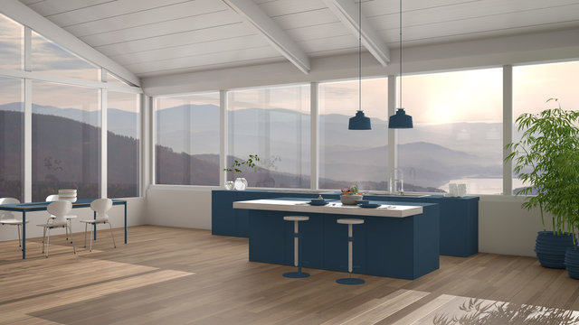 Modern minimalist blue colored kitchen with island and dining table with chairs, parquet, wooden roof and big panoramic windows with mountain view, interior design concept idea