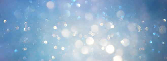 Fototapete - abstract glitter silver, gold , blue lights background. de-focused. banner