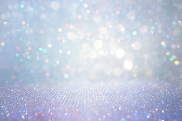 Fototapete - abstract glitter silver, gold , blue lights background. de-focused