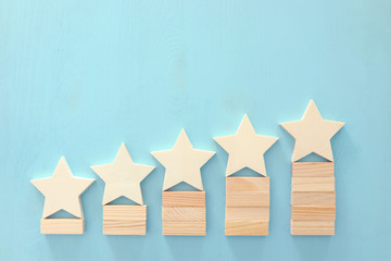 business concept image of setting a five star goal. increase rating or ranking, evaluation and classification idea