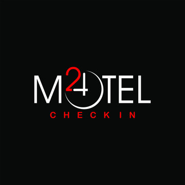 simple corporate text and clock picture for 24 hours service motel logo design inspiration