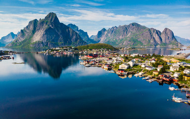 Stores photo Bleu nuit Fjord and mountains landscape. Lofoten islands Norway
