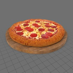 Pepperoni pizza on wooden board