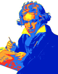 In de dag Pop Art Ludwig van Beethoven