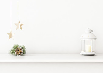 Christmas interior wall mockup with candle lantern, pine cone and star garland on empty white background. 3D rendering, illustration.