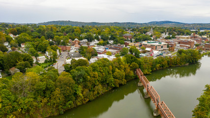 Pedestrian Bridge over Catskill Creek Aerial View New York Town