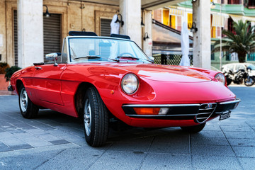 Beautiful vintage design of veteran red spider car model Alfa Romeo 1300 also called Duetto manufactured by Italian Alfa Romeo,Rome,Italy - July 20, 2019