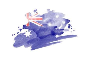 National flag of Australia. Stylized Australian flag with watercolor halftone effect on plain background