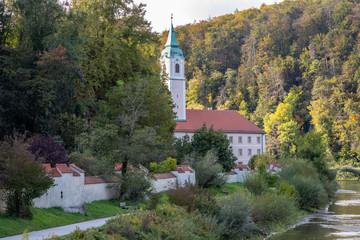 Weltenburg abbey, monastery near Kelheim, Bavaria, Germany at Danube river breakthrough